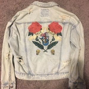 Oversized destructed denim jacket with embroidery
